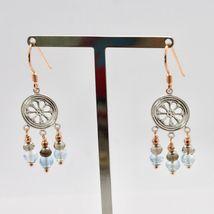 925 Silver Earrings Laminate Rose Gold with Smoky Quartz aquamarines image 7