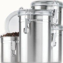 Anchor Hocking Round Stainless Steel Canister Set with Clear Acrylic Lid... - $33.19