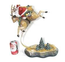 VTG Dept 56 Large Rudolph the red Nose reindeer Santa Bouncing Figurine ... - $49.45