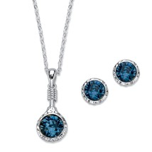 "Silvertone Blue Crystal Hammered 2-Piece Stud Earring and Necklace Set 18""-20"" - $35.99"