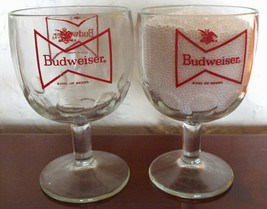 2 Budweiser Red Bow Tie Logo King of Beers Thumbprint Glasses Tumblers G... - $29.69
