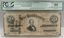 1864 $50 Confederate Civil War Counterfeit Banknote w Advertisement PC-190 - $3,033.60