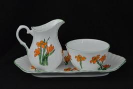 Crown Staffordshire Fine Bone China Creamer Sugar and Tray Set Devon Eng... - $32.71