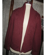Womens S WHITE STAG Beautiful Burgundy Fringed Shawl Collar Cardigan Sw... - $16.76