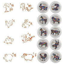 WR 12pcs Chinese Lunar Zodiac Sign Silver Foil Coin Set 2019 New Year Gifts - $26.98