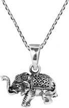 Royal Siamese Elephant 3D .925 Sterling Silver Necklace - $116.32