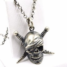 NECKLACE AND PENDANT, 925 SILVER, BURNISHED SATIN, PIRATE SKULL, CHAIN R... - $104.86