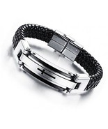 Feraco Cross Leather Bracelet Mens Stainless Steel Religous Cuff Bracel... - $39.95
