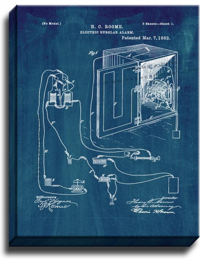 Primary image for Electric Burglar Alarm Patent Print Midnight Blue on Canvas
