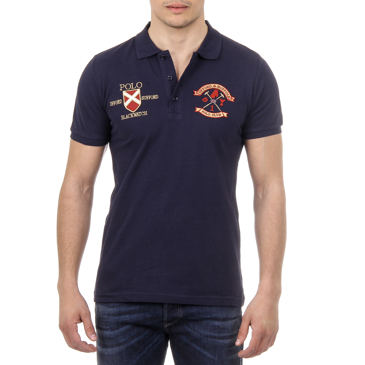Primary image for Ufford & Suffolk Polo Club Mens Polo Short Sleeves US007 NAVY BLUE