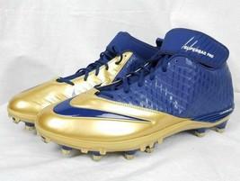 Mens Nike Superbad Pro Football Spikes cleats Lunarlon Blue Gold New - $49.49