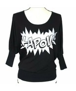 About A Girl Juniors Sweater S Black Kapow 3/4 Sleeve Comic Book Scoop N... - $14.99