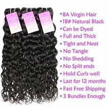"Water Wave 3 Bundles 10"" 12"" 14"" Brazilian Human Hair 8A Unprocessed Wet and Wav image 5"