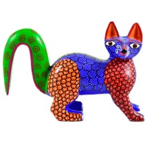Handmade Oaxacan Copal Wood Carving Painted Folk Art Fox Figure image 1