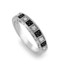Solid Sterling Silver Black & White Diamond Band Ring » R220 - £60.03 GBP