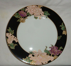 """Fitz and Floyd Salad Plate Cloisonne Peony Black Gold Gilding 7 3/4"""" - $14.73"""