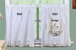 "Battenburg Lace Kitchen Curtain Tier Swag Ecru Beige Creative Linens 24"" L - $39.56"