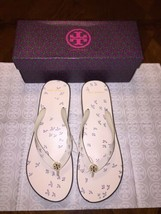 Nib Tory Burch Printed Cut-Out Wedge FLIP-FLOP In Ivory Early Bird Size 9 - $64.15