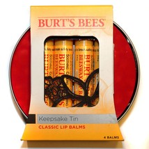 Burt's Bees* 5pc Set Keepsake Tin Beeswax Classic Lip Balms Yellow 100% Natural - $14.99