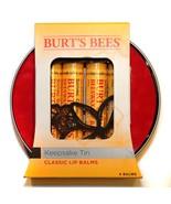 BURT'S BEES* 5pc Set KEEPSAKE TIN Beeswax CLASSIC LIP BALMS Yellow 100% ... - $14.99