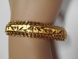 18K Min. Yellow Gold Bracelet Wide Etched Links with Double Chain 29 grams - $1,657.83