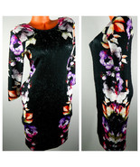 ASOS Maternity DRESS 6 Medium FLORAL Bodycon Scuba BLACK Career Evening  pp - $33.85