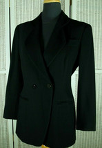 MANI Vtg Women's Double-Breasted Black Ribbed Jacket S-M Armani Diffusio... - $52.81
