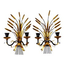Vintage Italian Tole Wheat Sheaf Candle Wall Sconces - A Pair - $895.00