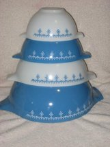 "Set Of 4 - Vintage 1970's Pyrex "" Snowflake Blue "" Cinderella Mixing Batter Nest - $168.29"