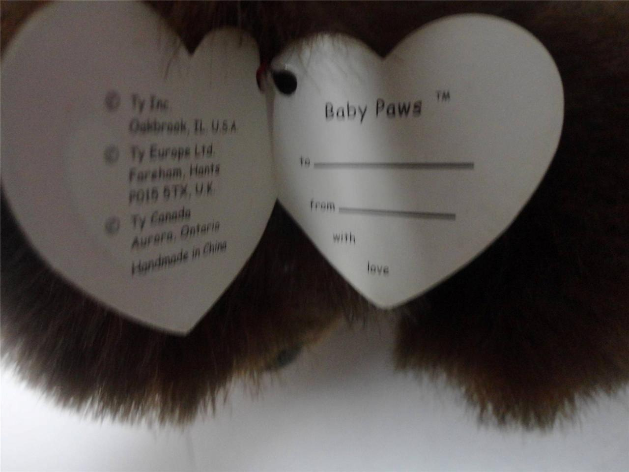 TY Beanie Buddies Wallace Bear 2000 and Baby Paws 1996 Lot of 2