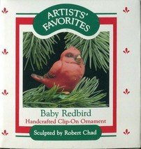 1988 Hallmark Keepsake Clip On Ornament - Baby Red Bird  - $4.94