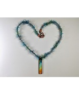 Necklace Aqua 24 Inches Handmade Kumihimo Braid Narrow Rectangle Pendant... - $34.99