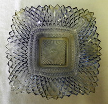 Iridescent Blue Glass Candy Dish Ruffled Edge Square Vintage Anchor Hocking - $34.27