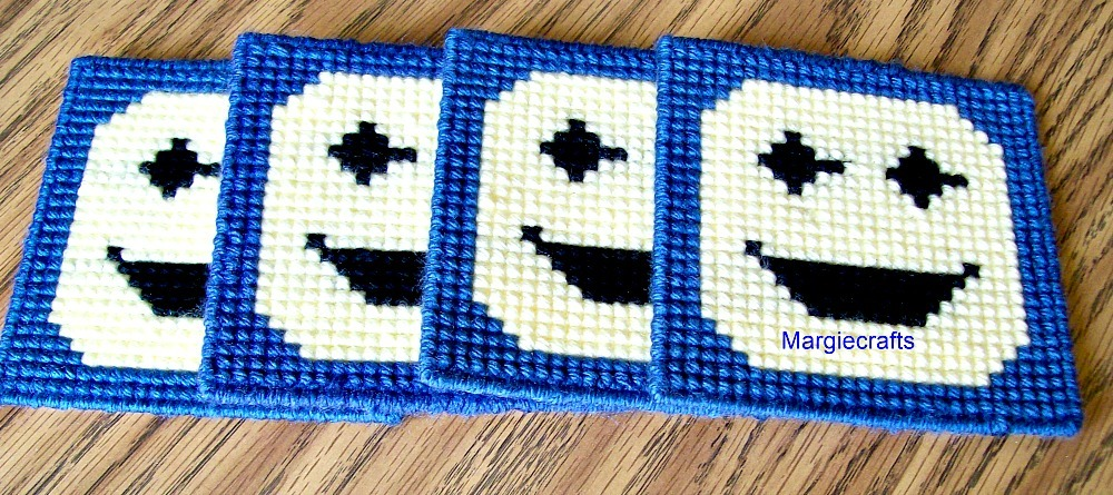 Smiley Face Coasters, Plastic Canvas, Handmade, Cross Stitch, Square, Summer