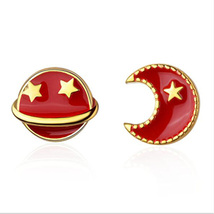 Gold Plated Asymmetric Star Moon and Space Universe Red Enamel Earrings... - $9.99