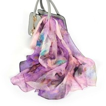 Women Neck Long Scarf Silk Autumn Winter Chiffon Floral Scarf Shawl 180X... - €23,70 EUR