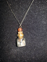 Handmade sealed gemstones in a bottle fashion necklace - $18.00