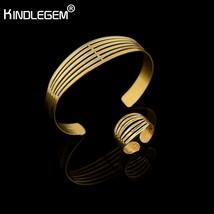 Kindlegem Fashion Dubai African Silver Pure Gold Color Bangle Set  Adjus... - $13.60