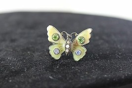 Antique Enamel Rhinestone Butterfly Brooch  - $17.82