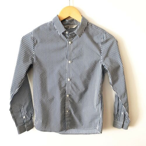 H&M Boys Navy Blue And White Striped Button Front Dress Shirt Size 10 11 Y  - $11.64