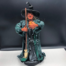 PAPER MACHE HALLOWEEN WITCH VINTAGE wicked salem broom pumpkin statue cr... - $178.20