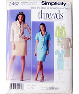 Simplicity 2452, Jacket Front Variations, Slim Line Skirt, Causal Dress,... - $12.00