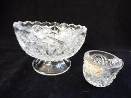 VTG set of 2 Pressed Glass Childrens play time Punch Bowl & whirligig cu... - $37.87