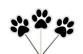 PAW Print Black Cupcake Toppers, Dog Cupcake Toppers, Puppy Party, Cupcake Toppe - $11.99