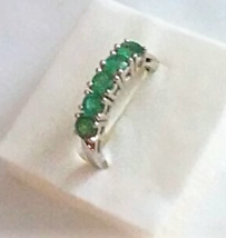 AFRICAN EMERALD ROUND 5-STONE BAND RING, PLATINUM / SILVER, SIZE 6, 1.25(TCW) - $99.99