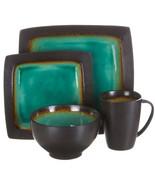 Gibson Ocean Paradise 16 Piece Square Stoneware Dinnerware Set in Jade - $102.32
