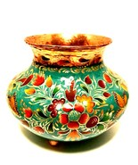 Copper Footed Vase Rare Artefino Mexico Hand Painted Colorful Floral But... - $152.46