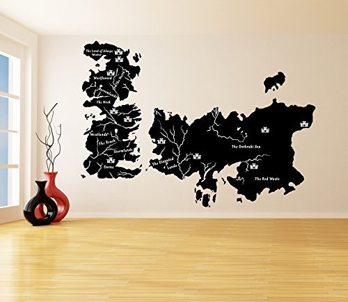 ( 79'' x 56'' ) Vinyl Wall Decal World Map Game of Thrones with Castles / Atlas  - $106.69
