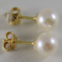 SOLID 18K YELLOW GOLD EARRINGS WITH AKOYA PEARLS 6 MM, MADE IN ITALY image 2