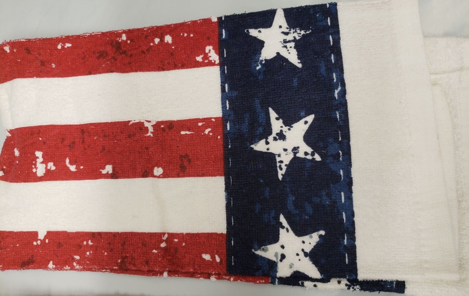 """USA FLAG,STARS /& STRIPES 15/""""x25/"""" SET OF 2 DIFFERENT PRINTED KITCHEN TERRY TOWELS"""